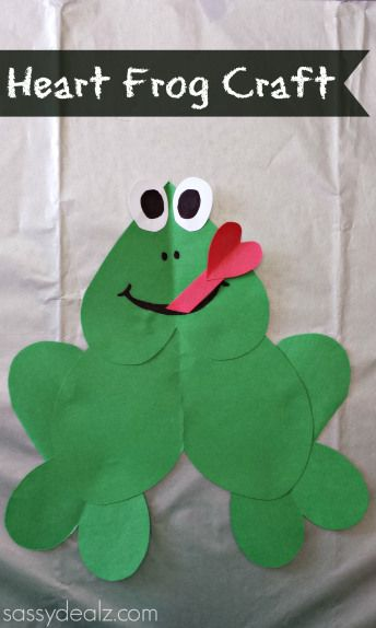 Paper Heart Frog Craft For Kids #Valentines day craft #Frog art project #Froggy | CraftyMorning.com