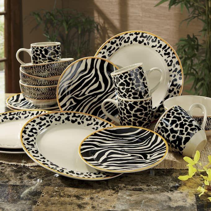 16 Piece Zambia Safari Dinnerware Animal Print Decor Safari Home Decor Dinnerware