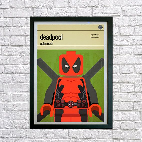 This is a stylish poster print of the Lego Marvel Super Hero Deadpool, fit to grace any man cave or children's bedroom. Hand drawn with a graphics tablet and pen this print is styled with typography and features the actor who voiced Deadpool in the Lego Marvel Super Heroes game and the Lego Super Hero abilities.