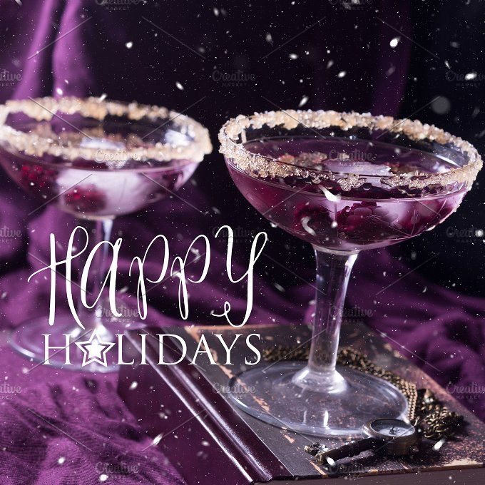 Two alcohol cocktails with berries on purple. Square by Life Morning Photography on @creativemarket