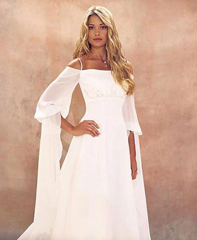 Medieval princess wedding dress in chiffon