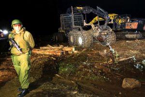 Una de las máquinas destruidas en el ataque incendiario. (O. Ravanal)