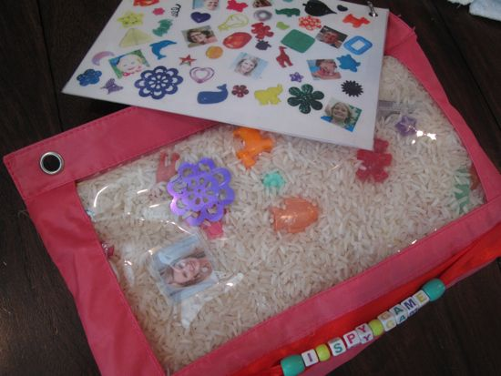 I spy game -- great DIY game to occupy toddlers (car/airplane rides?). Also awesome gift idea for siblings to new babies!