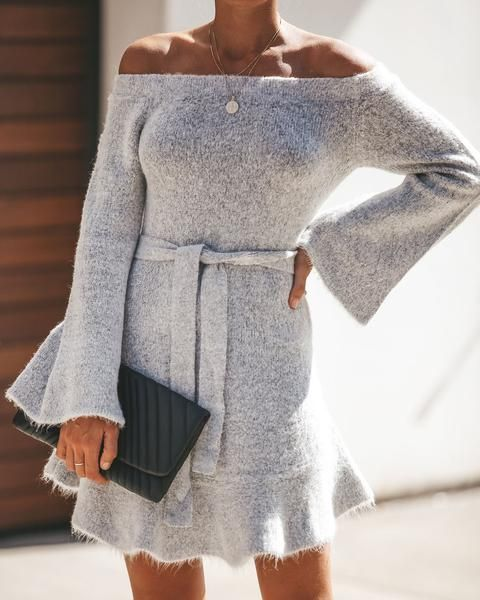 6381449baa Adoration Off The Shoulder Sweater Dress - Heather Grey- FLASH SALE ...