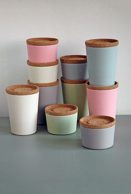 STORE & STACK canisters. design Margriet Foolen., Based on biodegradable bamboo fiber and corn starch. Lid from cork