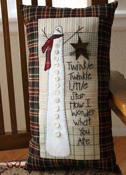 Primitive Snowman TWINKLE Pillow Pattern by Heartfelt Finds