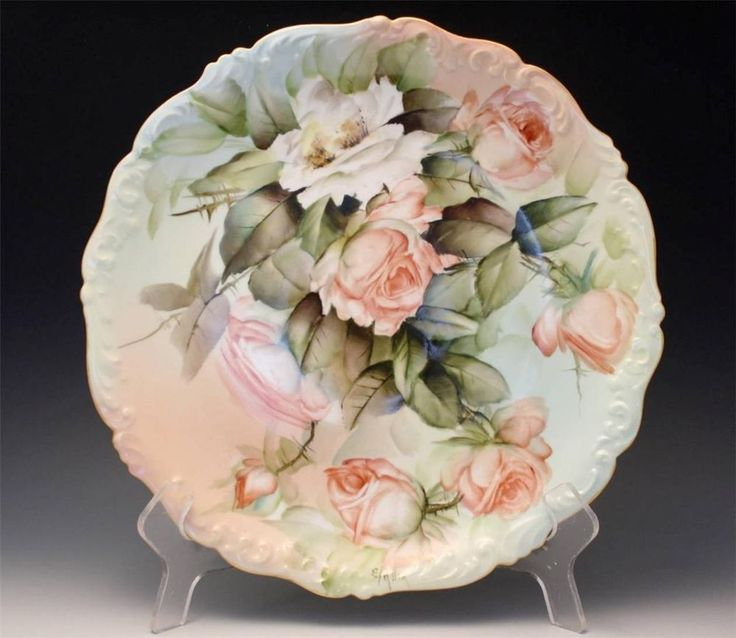 C1910 French T\u0026V Limoges Hand Painted Round Charger Plate Signed E. Miler & 151 best Hand Painted Plates images on Pinterest | Dish sets ...