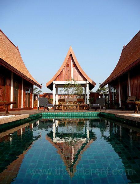 Green Gecko is a Thai style rural holiday villa set around a very private swimming pool. The villa has two air-conditioned, en-suite bedrooms each with a 4 poster bed, a large living and dining room, a raised and extensive wooden deck, sala, kitchen and pool – all set among tropical grounds.
