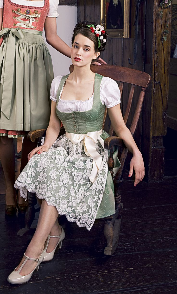 Super sweet light green Dirndl Style with flower band and patent leather shoes. oh oh oh by Julia Trentini