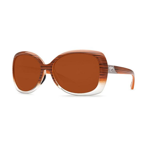 Costa Del Mar Sea Fan Polarized EF 81 OCP Sunglasses (€175) ❤ liked on Polyvore featuring accessories, eyewear, sunglasses, brown sunglasses, brown glasses, brown lens sunglasses, costa eyewear and costa glasses