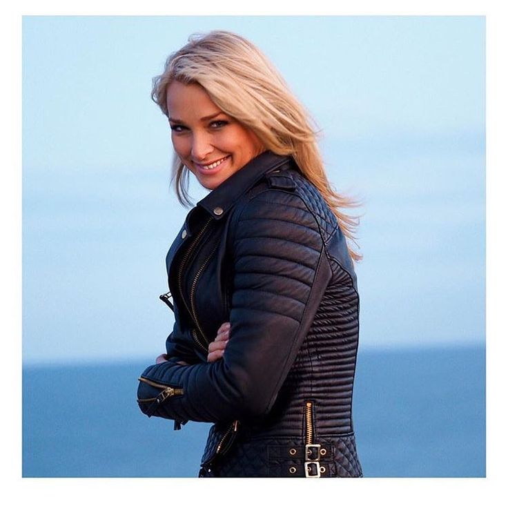 Anna Heinrich.. wearing BODA SKINS Kay Michael's Quilted Biker.. #leather #luxury