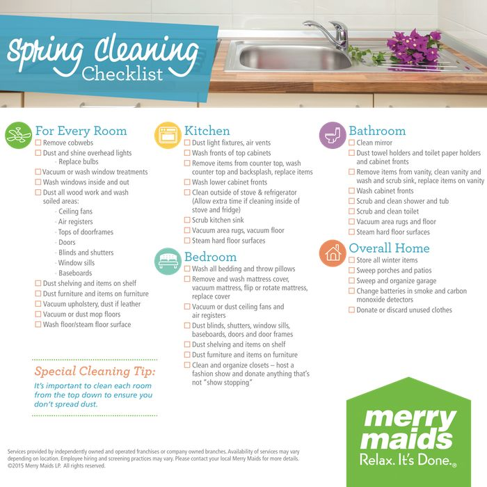 Ready for spring cleaning but not sure where to start then check out merry maids checklist with tasks for every room get your home spotless in no time