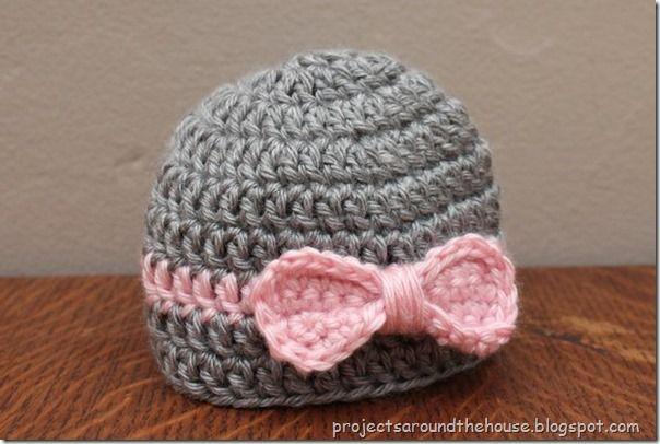 Crochet Newborn easy del sombrero del arco libre del patrón ❥Teresa Restegui http://www.pinterest.com/teretegui/❥