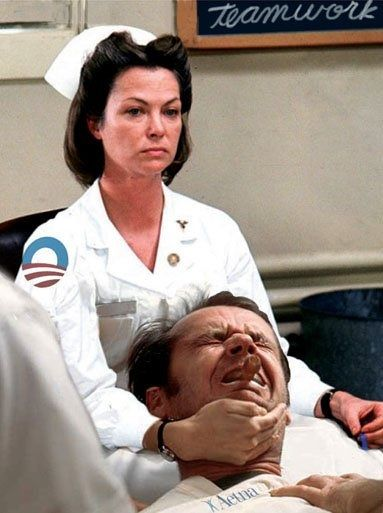 """Louise Fletcher and Jack Nicholson in """"One Flew Over the Cuckoo's Nest"""" (1975)  Louise Fletcher - Best Actress Oscar 1975"""