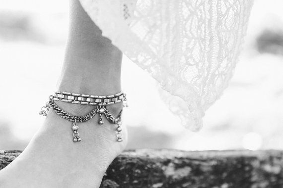BELLE boot CHAINS/ANKLET  silver di AimeeJewels su Etsy
