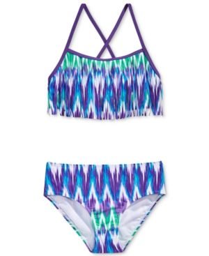 Kanu Surf 2-Pc. Kelly Fringe Bikini Swimsuit, Big Girls (7-16) - Purple 16