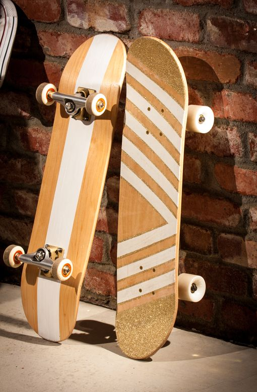 DIY: glitter/geometric skateboard by hippanonymous.May do this for a class I will hopefully take.