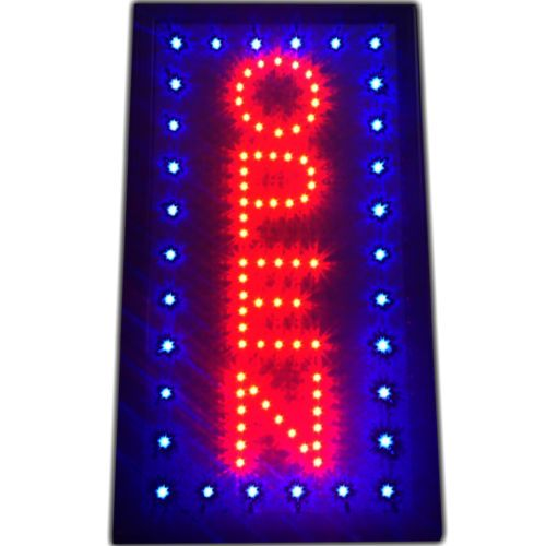 Awesome LED Open Sign Large Vertical x switch display store neon window shop NEW