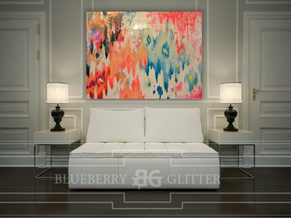 This one of a kind large abstract artwork is textured with a mixture of acrylic paints, recycled glass, and resin coating to create a truly