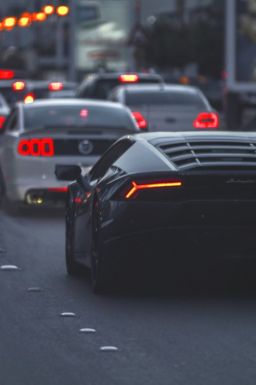 luxeware: Ford Mustang followed by a Lamborghini Huracan