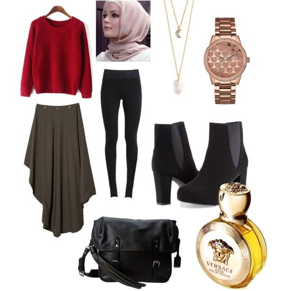 Mood 4 Black | Hijab by andhialaksmana on Polyvore featuring polyvore, fashion, style, MM6 Maison Margiela, NIKE, Ashley Stewart, Frye, GUESS, With Love From CA and Versace
