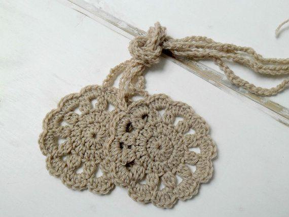 TWO curtain tie backs crochet holdbacks - beige neutral