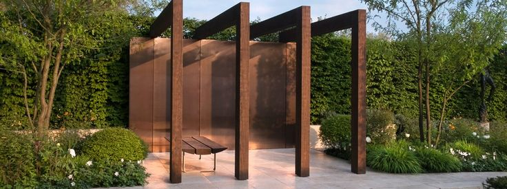 Ultramodern pergola at the Laurent-Perrier Garden, one of the winners of the Chelsea Flower Show 2013, created by the Swedish designer Ulf Nordfjell - #modern #contemporary #landscape #outdoor #garden #patio #backyard #design #idea #solution #architecture #build #tree #planter #canopy #pergola #flower #pool #water