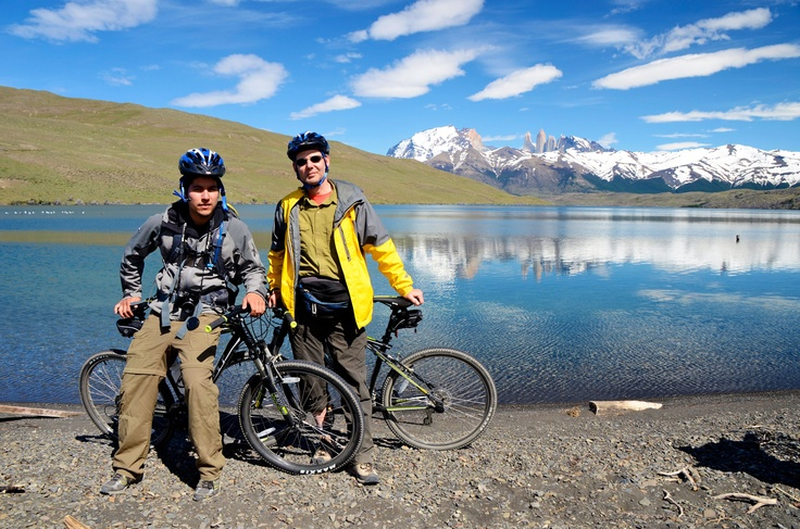 Biking in Laguna Azul, Torres del Paine National Park, Patagonia - Chile