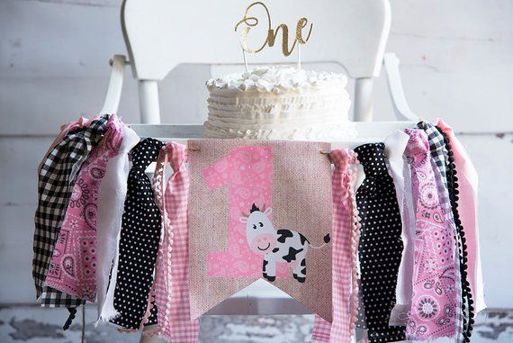 Pink One Cow Print Banner Farm First Birthday Party Decor
