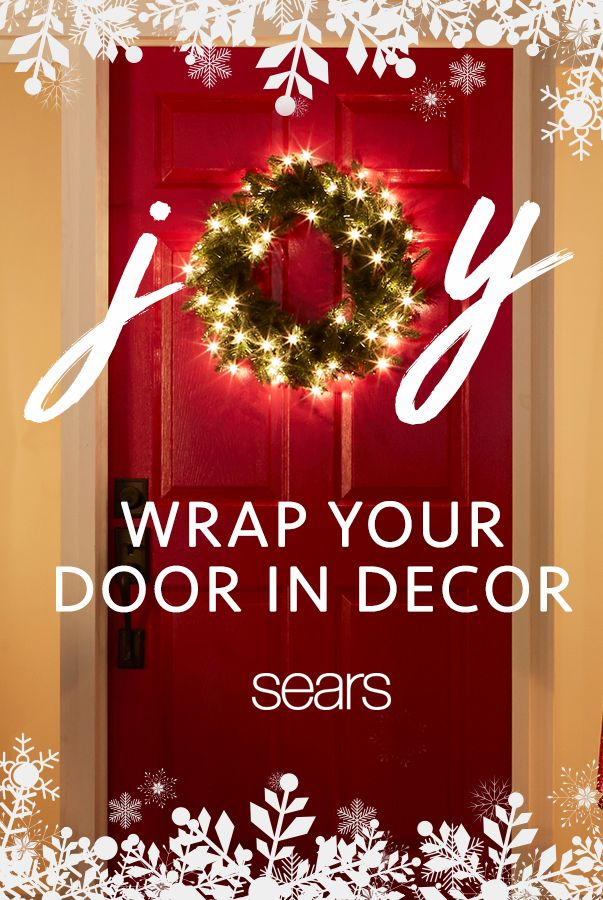 Greet guests with holiday cheer when you hang a pre-lit wreath on your front door. Looking to add a DIY touch? Make your wreath one-of-a-kind by adding ribbons and ornaments. Find everything you need to decorate your door and your entire home at sears.com.