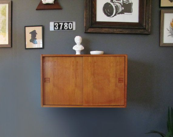 Danish Teak Drop Front Floating Wall Cabinet Mid Century Modern For Above  Sewing Table In Alcove? | Project Comm Ave | Pinterest | Floating Wall, ...