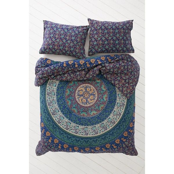 Magical Thinking Blue Medallion Comforter ($149) ❤ liked on Polyvore featuring home, bed & bath, bedding, comforters, decor, house, blue medallion bedding, medallion bedding, cotton comforter and bohemian style bedding