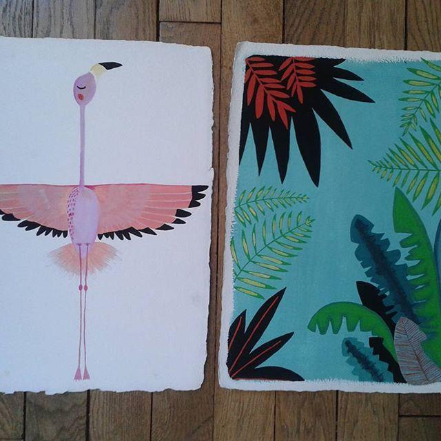 www.etsy.com/fr/shop/MilkshakeCie    #etsy #etsyfrance #etsymagazine  #birdsmagazine #bird #flamingo #jungle #art #illustration