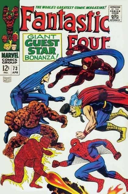 Fantastic Four Vol. 1 #73 (1968), Fantastic Four vs. Daredevil, Thor, and Spiderman.