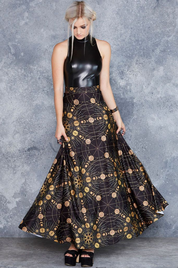 Sacred Fractals Maxi Skirt - 48HR ($120AUD) by BlackMilk Clothing