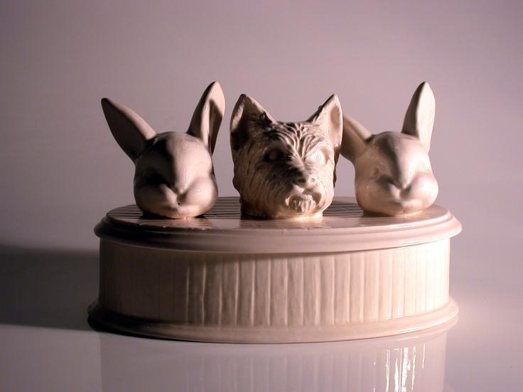 """""""Three heads are Better than one"""", slip cast ceramic by Stephen Stockbridge. www.stephenstockbridge.com"""