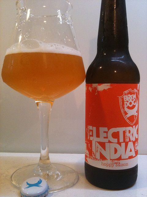 Brewdog Electric India - their first Saison. Very drinkable for a style you normally wouldn't put down as a session beer, but being an IPA hybrid you could certainly knock back a few - although at almost 7% you'd need to show some restraint.