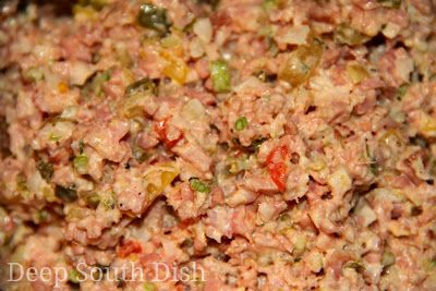 I remember my mom making this when I was a kid.  And she used a hand crank food grinder and a big hunk of bologna.  Deviled Ham or Bologna Salad