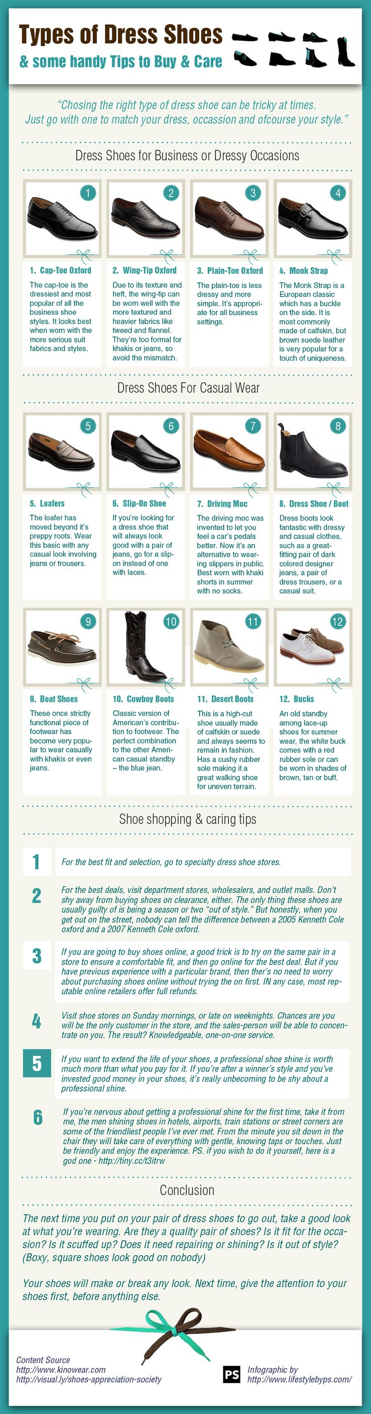 MEN'S SHOE TIPS: Dress shoes for Business, Dressy or Casual Wear.  ---> FOLLOW US ON PINTEREST for Style Tips, Men's Basics,  Men's Essentials on anything, OUR SALES etc... ~ VujuWear