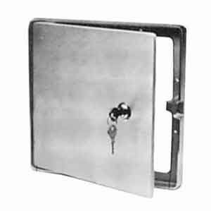 """Pit Pal 3013 Large Access Door by Pit Pal. $126.21. Design is stylish and innovative. Satisfaction Ensured.. Dimensions: 10 L x 10 W x 1 Thick.. Great Gift Idea.. Manufactured to the Highest Quality Available.. Use these handy access doors to eliminate running hoses and cords through trailer door. Allows easy access to cords, hoses, etc. Spring loaded hinges, key locking cylinder outside flange bright polished aluminum. all hardware is concealed. Dimensions: 10"""" L x 10"""" W x..."""