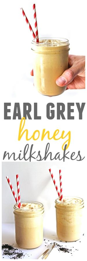 Thick and creamy earl grey honey milkshakes! An awesomely frozen spin on the classic English tea with milk and honey.