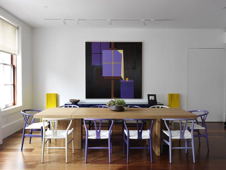 Purple wishbone chairs Nexus