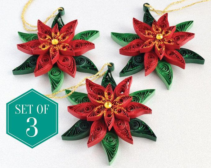 Set Of 3 Poinsettia Christmas Decorations Holiday Ornament Christmas Decoration Christmas Ornament Quilling Christmas Paper Quilling Paper Quilling Designs