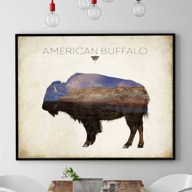 American Buffalo Print, American Bison Print, Buffalo Wall Art Decor, Bison Painting, Bull Spirit, Buffalo Home Decor (N419) by PointDot on Etsy
