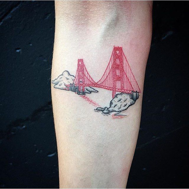 Micro #SingleNeedle Golden Gate Bridge © @blackmark_ink Black & Blue Tattoo, San Francisco California