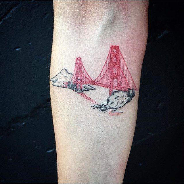 Micro #SingleNeedle Golden Gate Bridge © @blackmark_ink Black & Blue Tattoo, San Francisco California