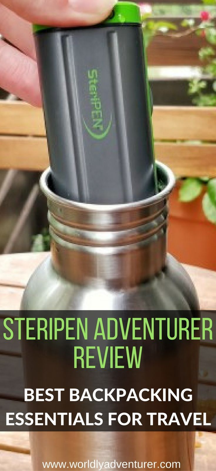 Portable water purifier for survival and camping | water filter for camping and hiking | water sterilizer | backpacking essentials for travel, hiking, the outdoors and camping | backpacking gear and tips.