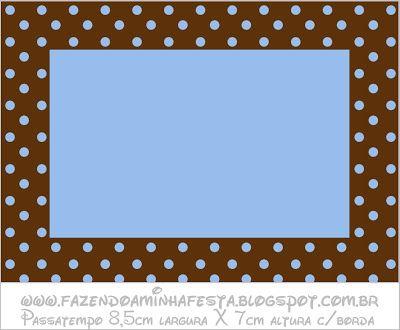 Azul e Marrom Poá - Kit Completo com molduras para convites, rótulos para guloseimas, lembrancinhas e imagens!