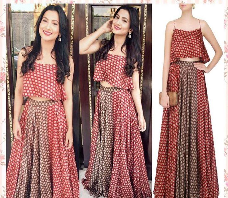 House of Shikha # Gauhar Khan # cropped top look # skirt # casual lookk