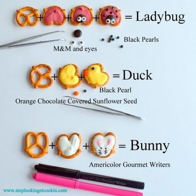 Adorable! Ladybug, Duck and Bunny Pretzels from Stop Looking Get Cooking. How fun for an Easter party or birthday party :) Edible markers can be purchased at Michaels and other craft/baking stores.